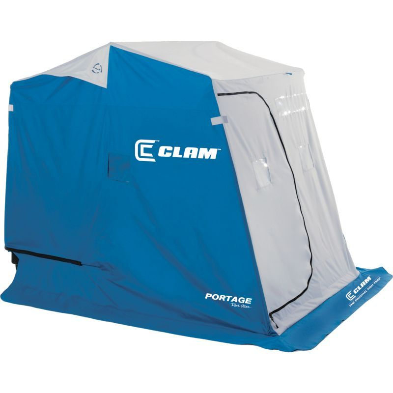 Clam Portage 2 Person Ice White Fishing Shelter Ice Fishing