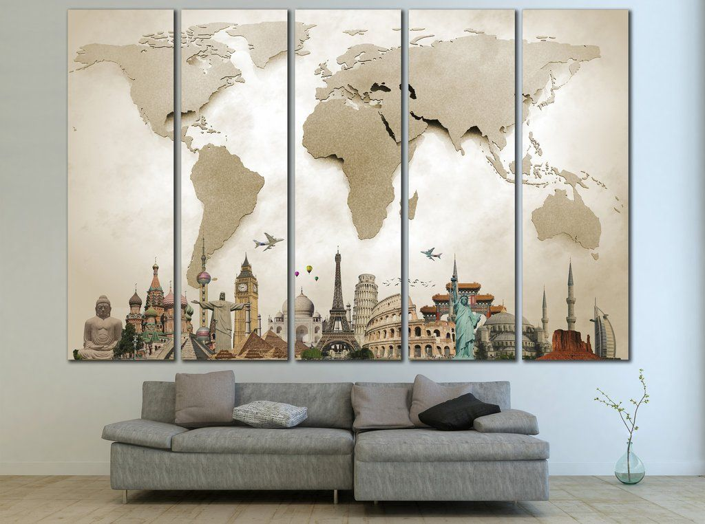 Beige 3D Effect World Map Ready to Hang Canvas Print №702 ...