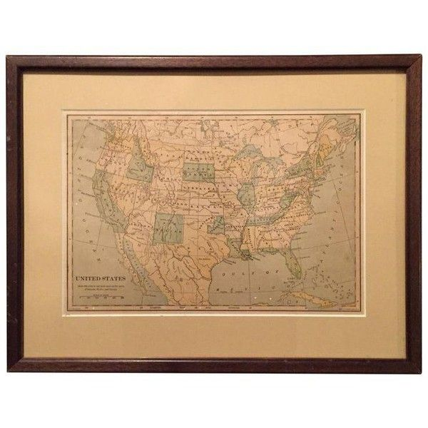 Early 20th Century Map of United States ($85) ❤ liked on Polyvore featuring home, home decor, wall art, maps, map wall art, new york home decor, ny wall art, map home decor and new york wall art