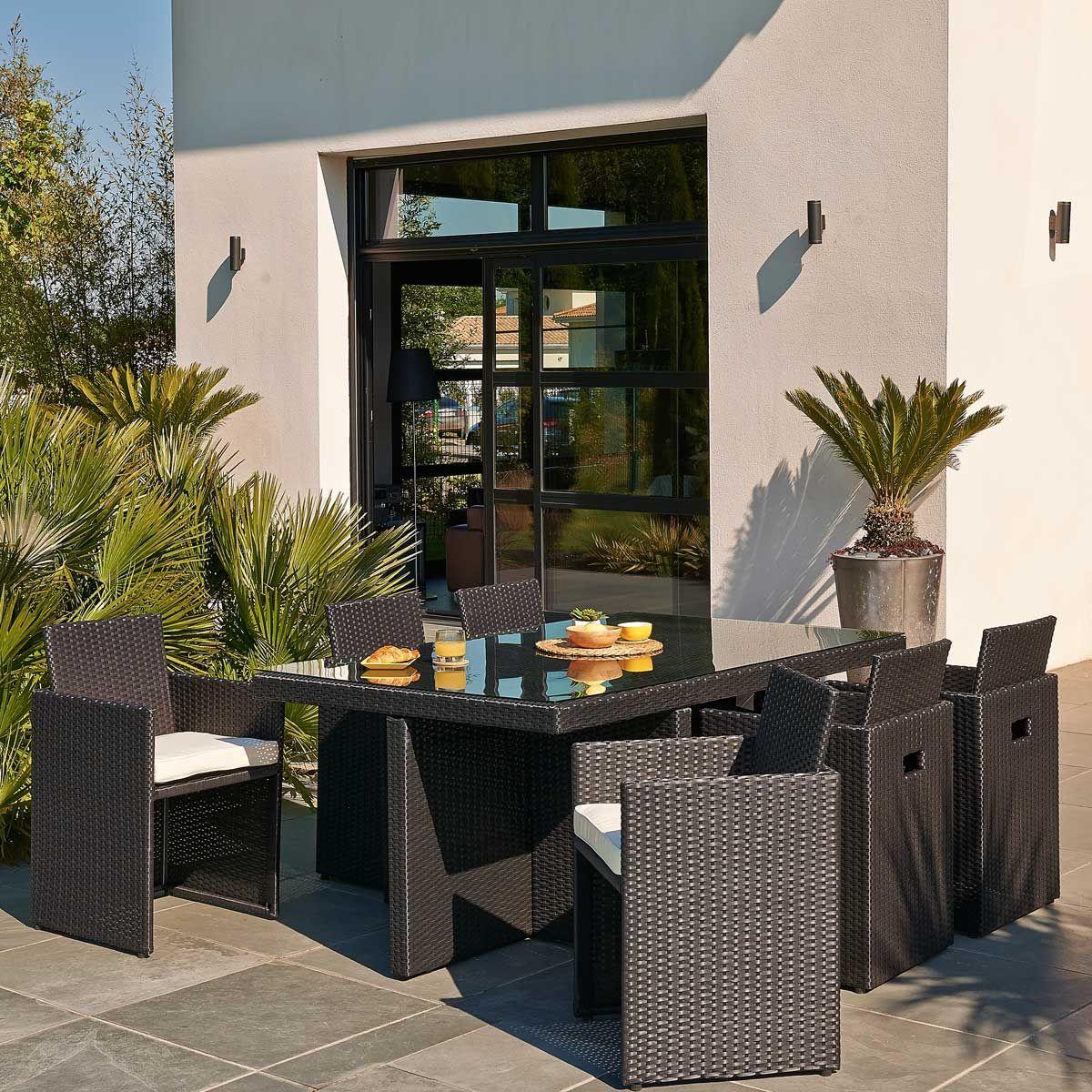Salon de jardin 6 fauteuils encastrables en résine tressée coloris ...