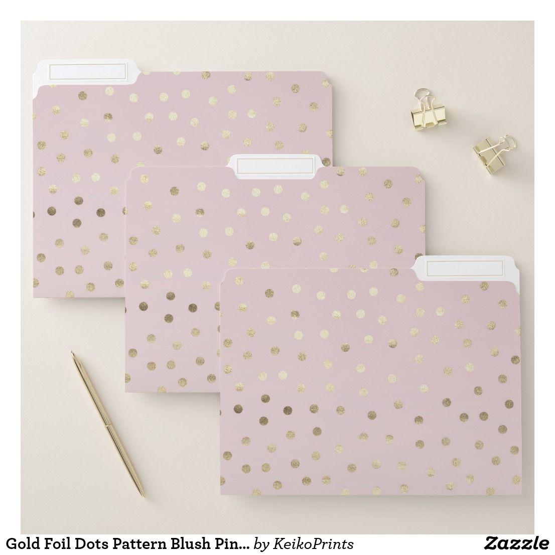 Gold Foil Dots Pattern Blush Pink File Folders