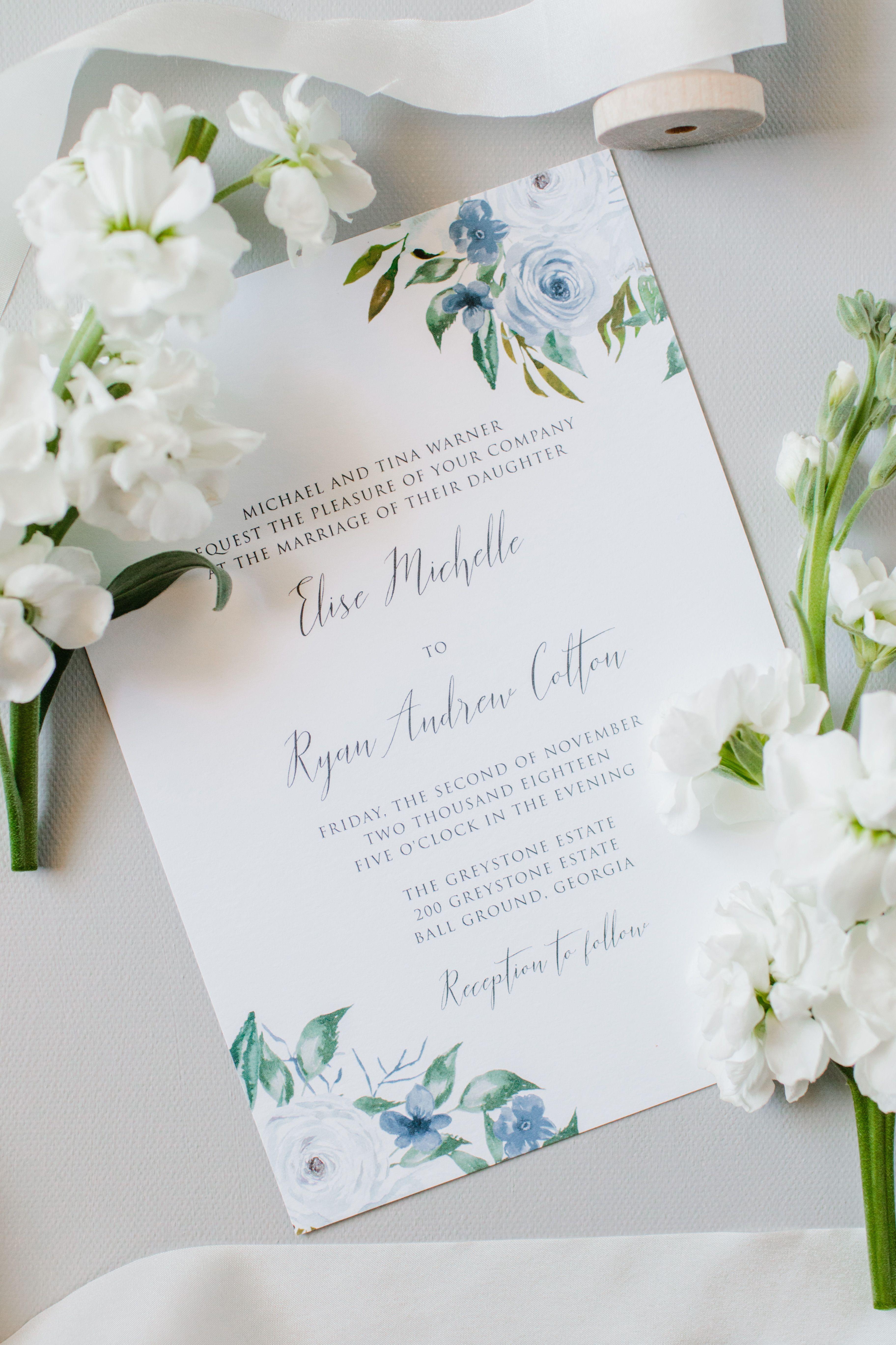 Dusty Blue Floral Wedding Invitation Set Slate Blue Summer