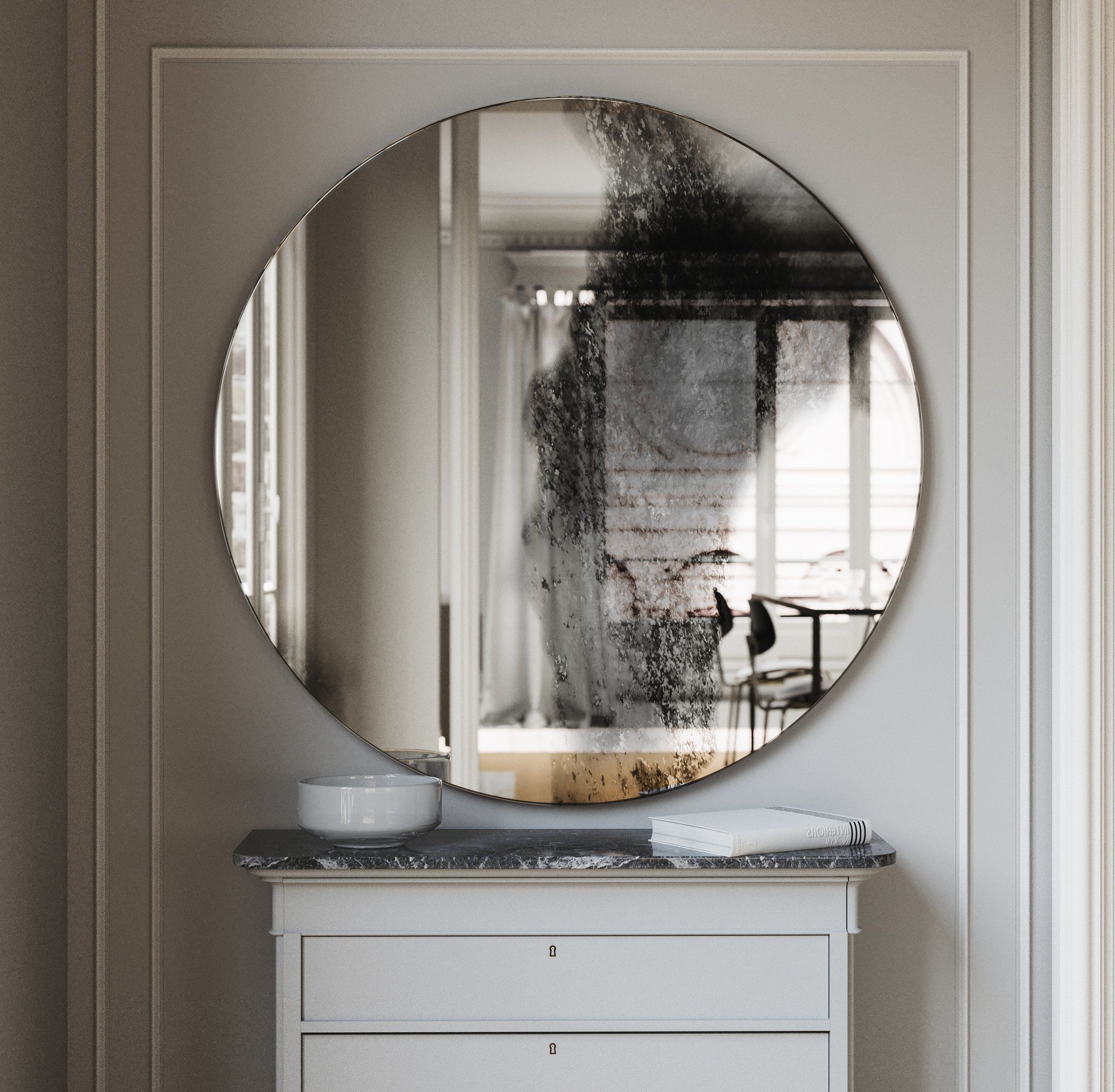 Round Frameless Wall Mirror Antiqued Wall Mirror With Etsy