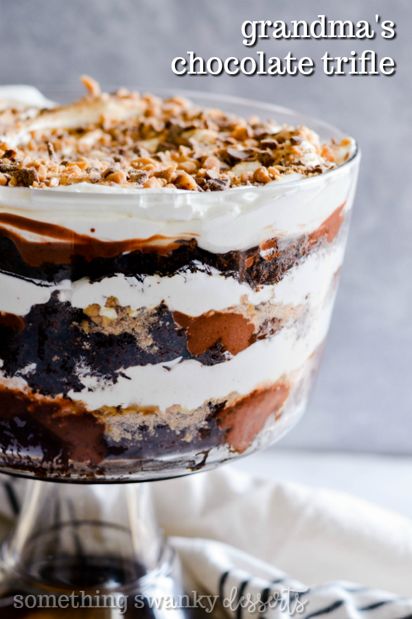 Grandma's Famous Chocolate Trifle is part of Trifle desserts - The recipe for my grandma's chocolate trifle  Delicious layers of chocolate cake, pudding, Cool Whip, and Heath Toffee Bits