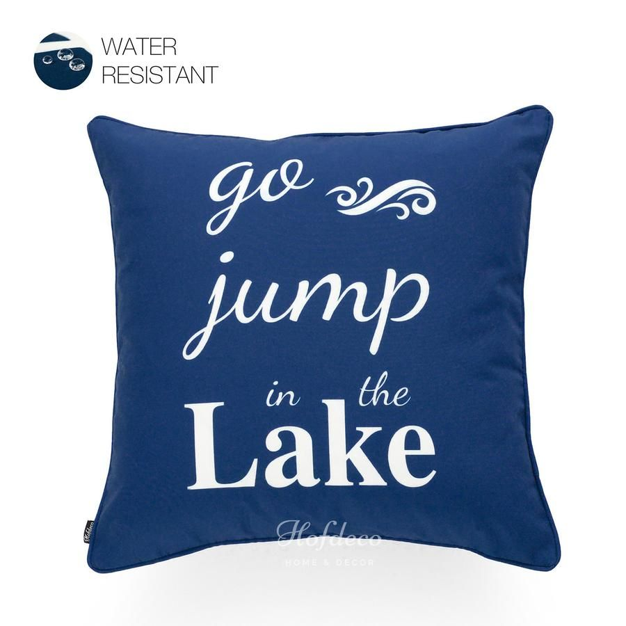 Navy blue go jump in lake word outdoor throw pillow cover