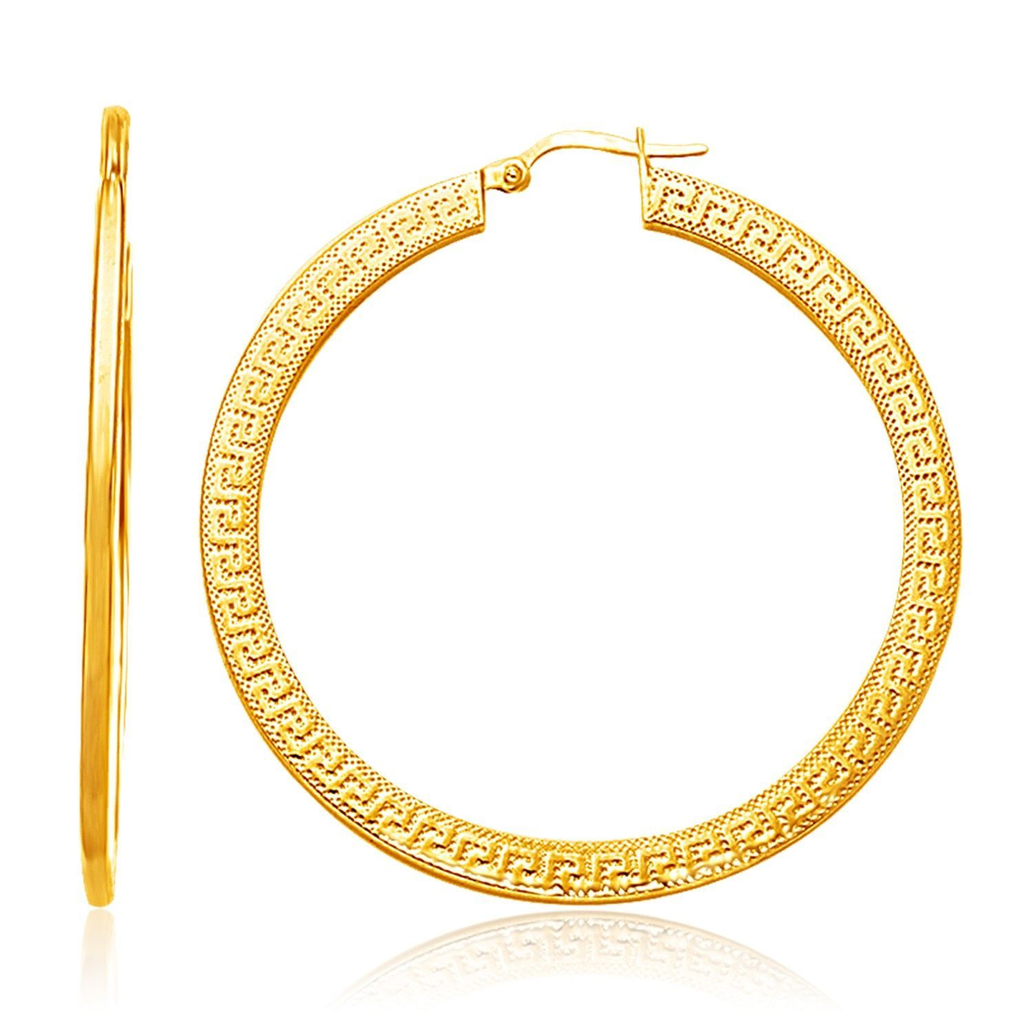14k Yellow Gold Greek Key Extra Large Hoop Earrings With Flat Sides