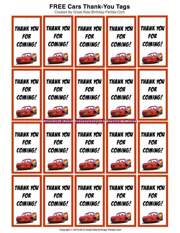 FREE Printable Disney Cars ThankYou Tags for party favors at