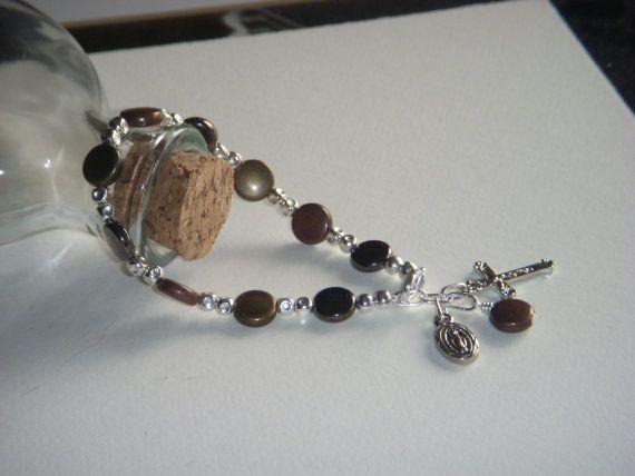 Brown Beaded Rosary Bracelet #etsy  #design