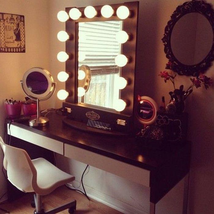 schminktisch mit spiegel gl hbirne modern stuhl i. Black Bedroom Furniture Sets. Home Design Ideas