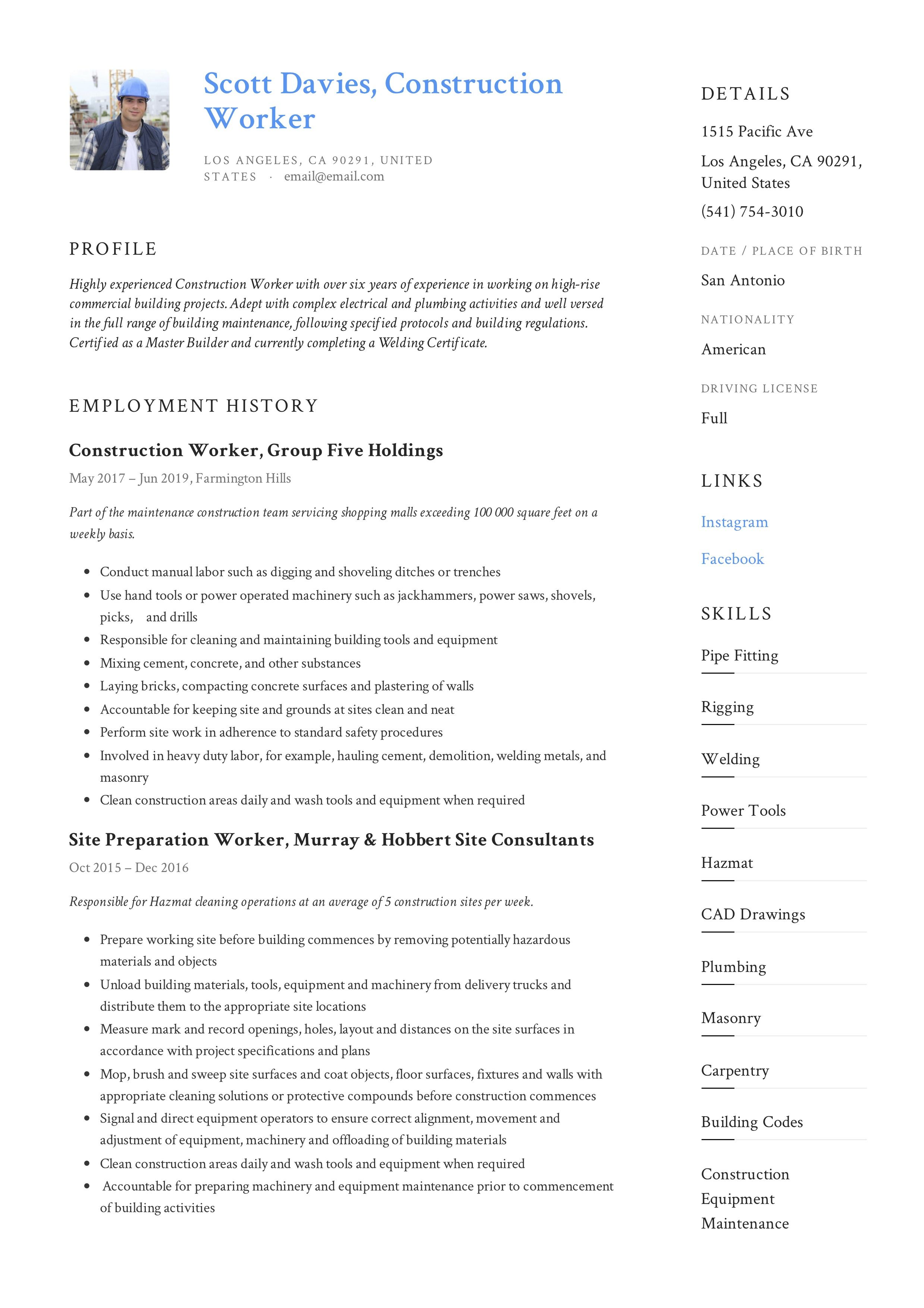 Construction worker resume writing guide in 2020