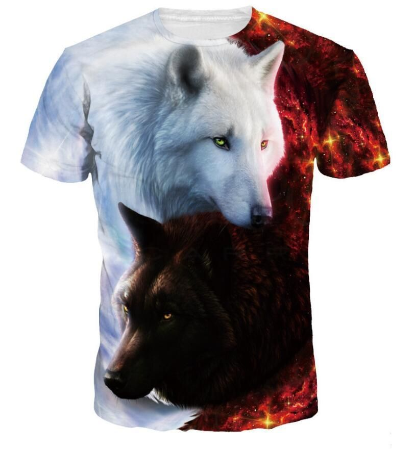 3898367908 3D Wolf Print Animal Cool Funny T-Shirt Men Short Sleeve Summer Tops Tee  Shirt