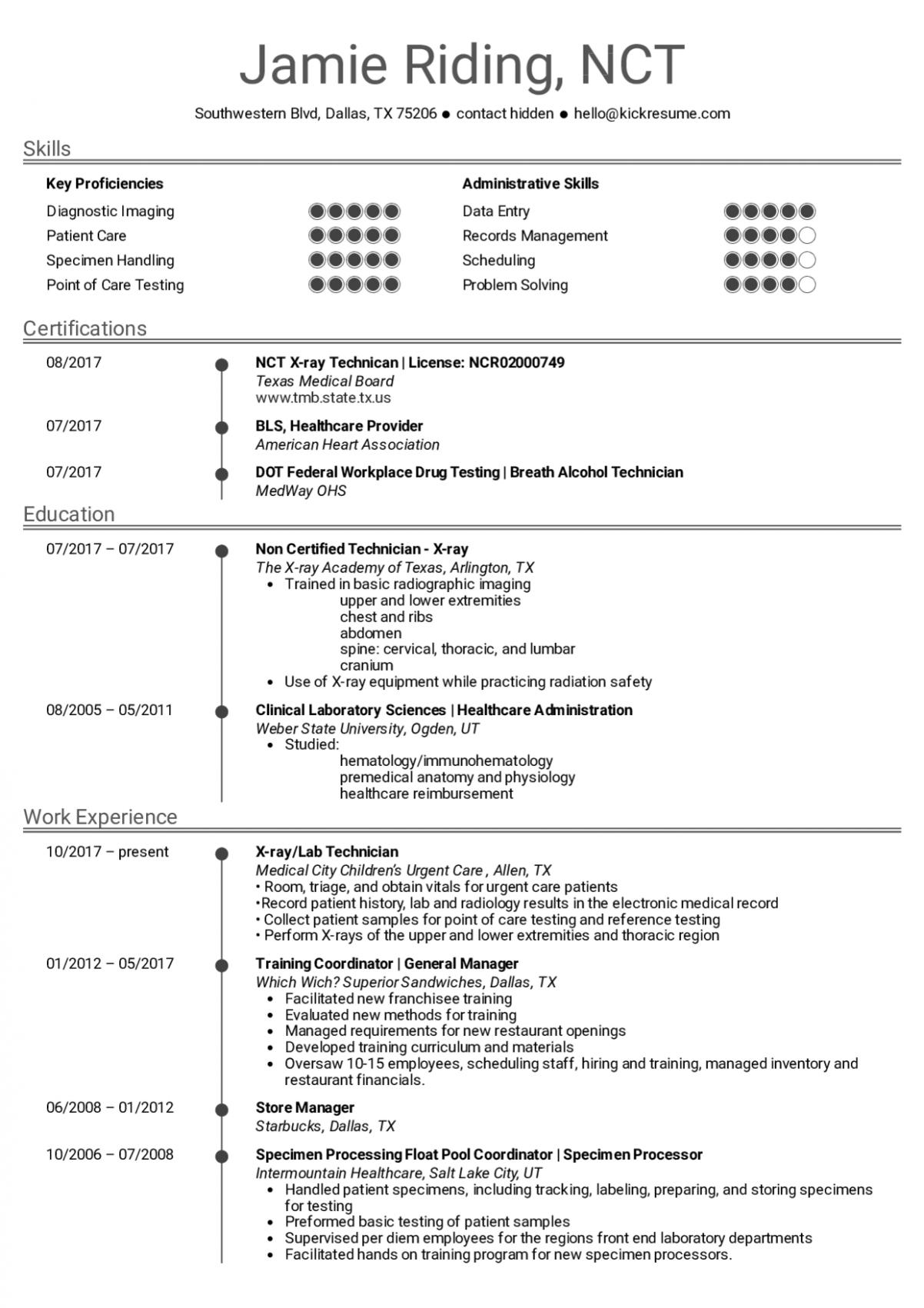 8 X Ray Resume Templates
