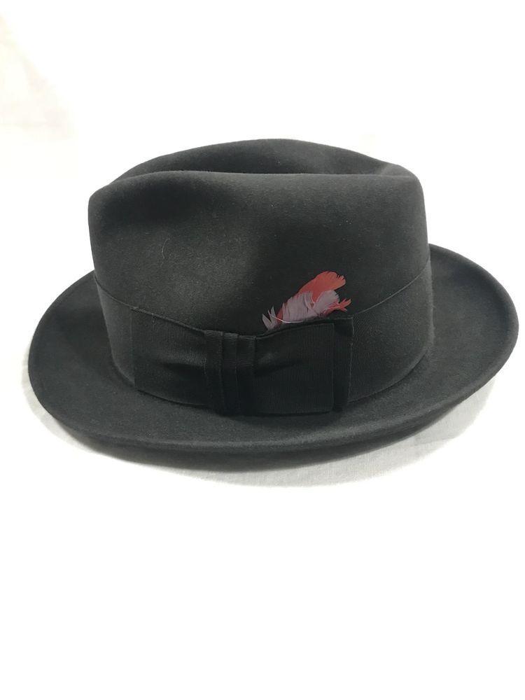 Men s  Women s Vintage Indiana Jones Type Fedora Resistol Hat 6 7 8  Gunmetal  2f17103228d