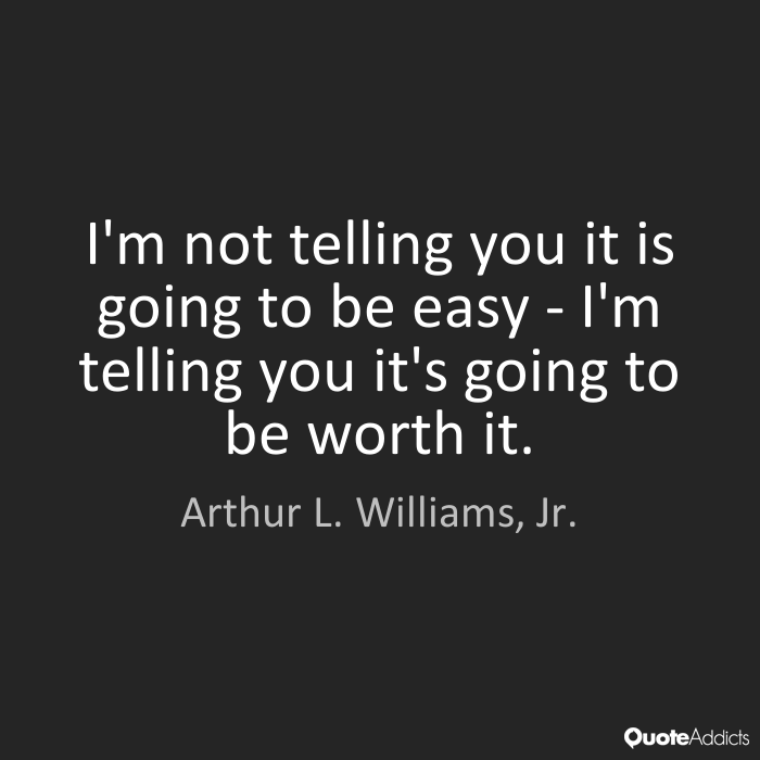Inspirational saying quote by Arthur L Williams Jr Worth It wall art Black