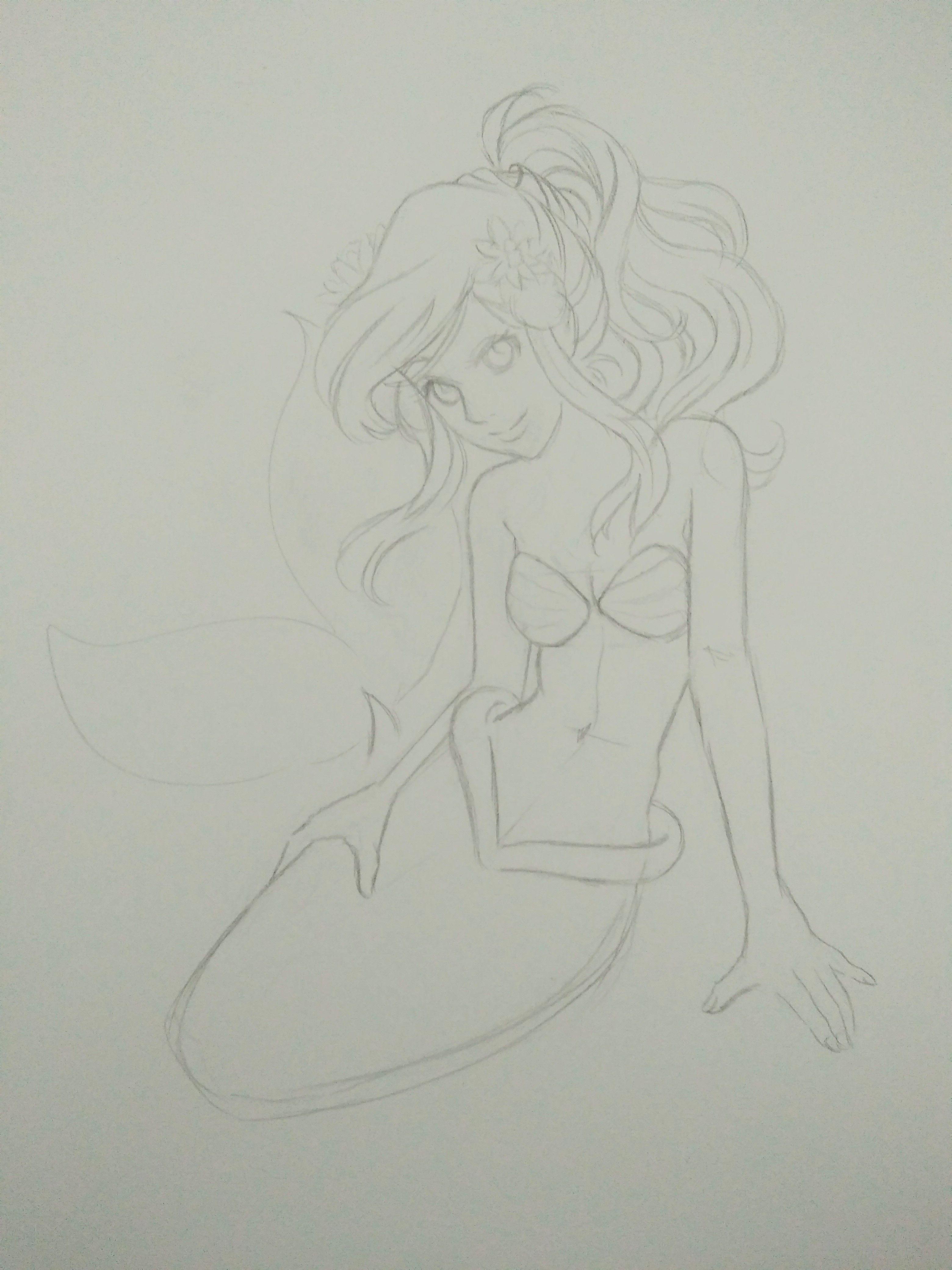 Meerjungfrau Bleistiftzeichnung Skizzen Drawings