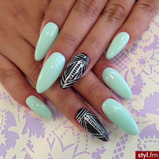 mint , tribal stiletto nails . | nail design | Pinterest | Uña ...