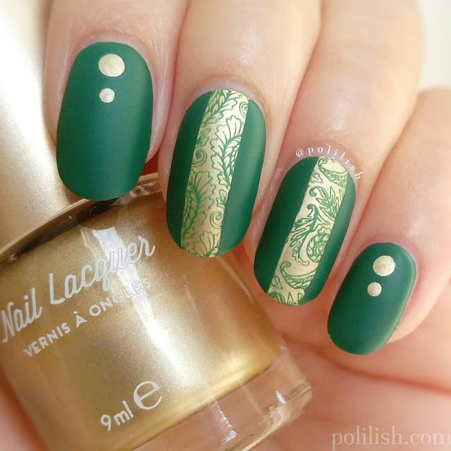 Green and gold reverse stamping with UberChic 1-02, by polilish ...