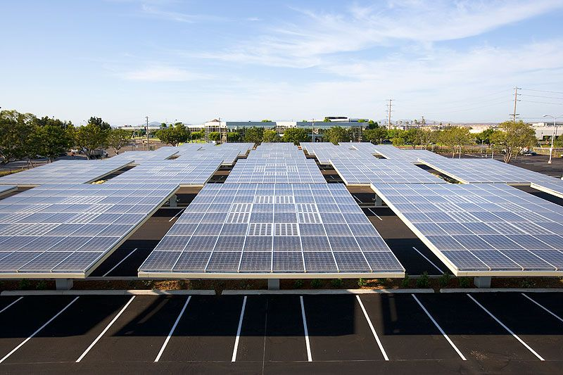 Envision Solar Solar Tree Electric Vehicle Charging Stations Kyocera Headquarters Installation Solar Panels Solar Solar Tree