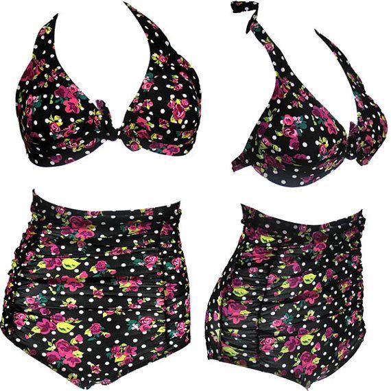 294d9e57d7 Hot Rose flower printed swimsuit high waist swimwear by sexybikini ...