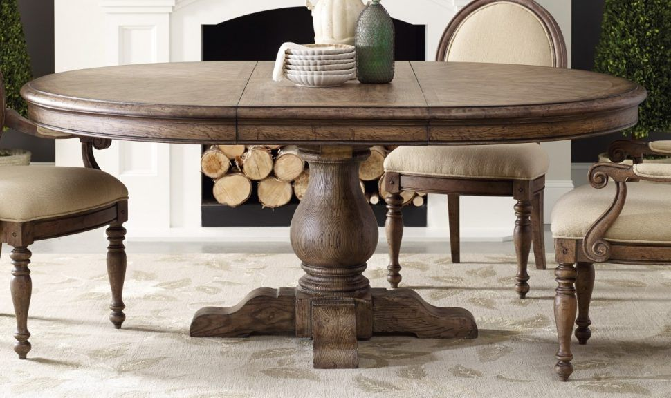 Kitchen Incredible Round Pedestal Kitchen Table Throughout Rustic