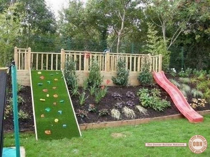 backyard fun for kids play structure slide and climbing wall great idea for sloping yards more like backyard fun for me