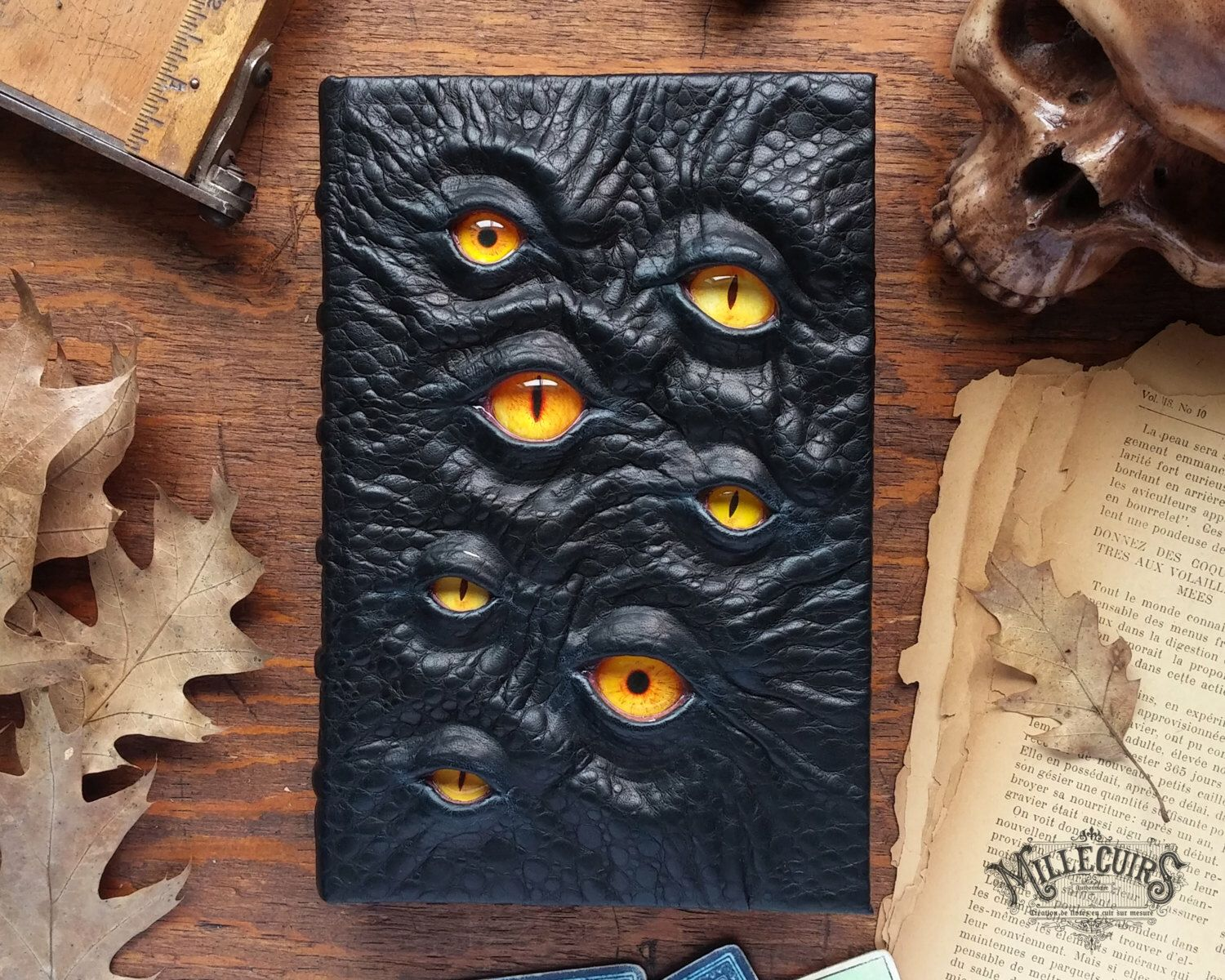 The Watcher, Handmade Leather Book Of Shadows, Ooak Dark Journal,  Lovecraftian Grimoire, Larp Larping Horror Dunwich Diary, Necronomicon