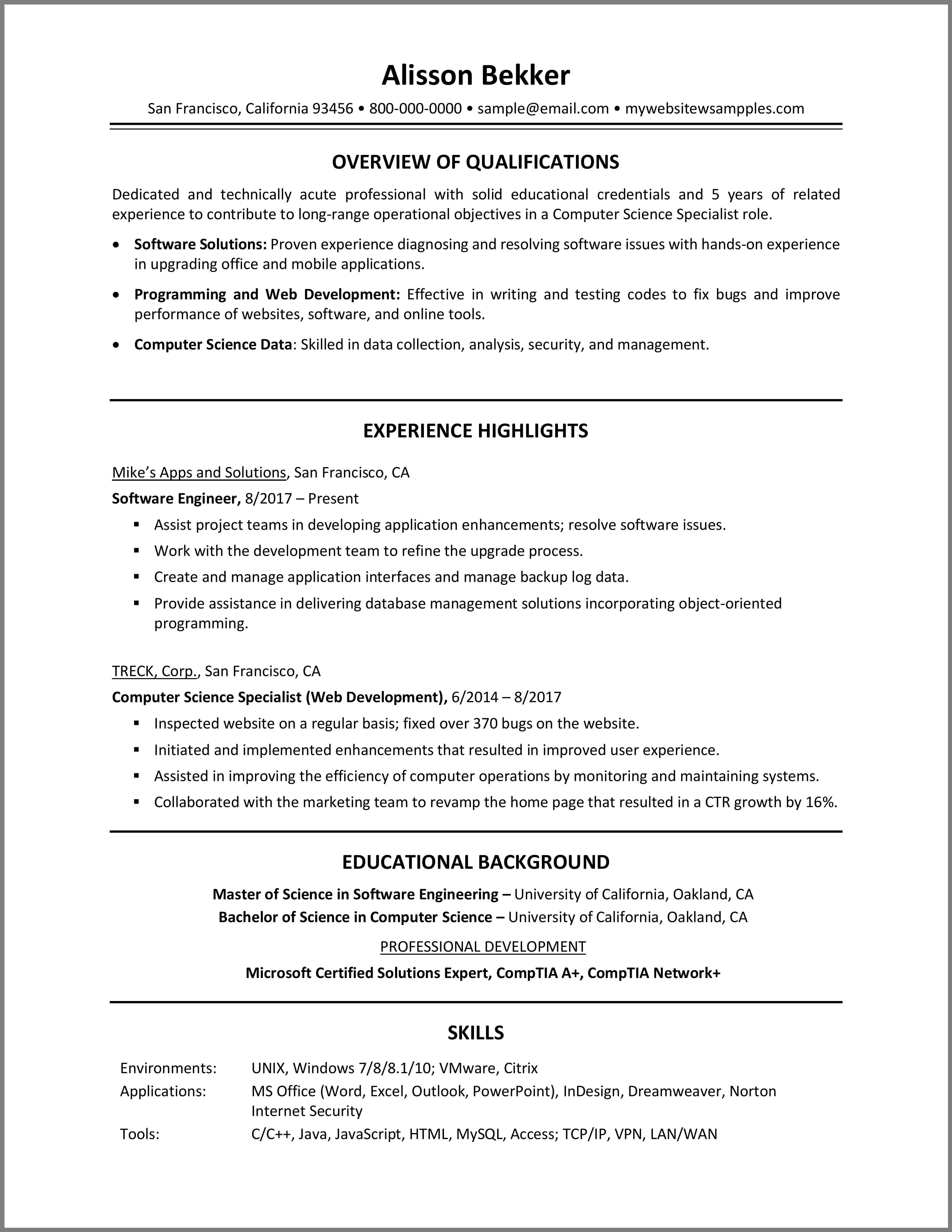 Computer science resume computer science resume tips