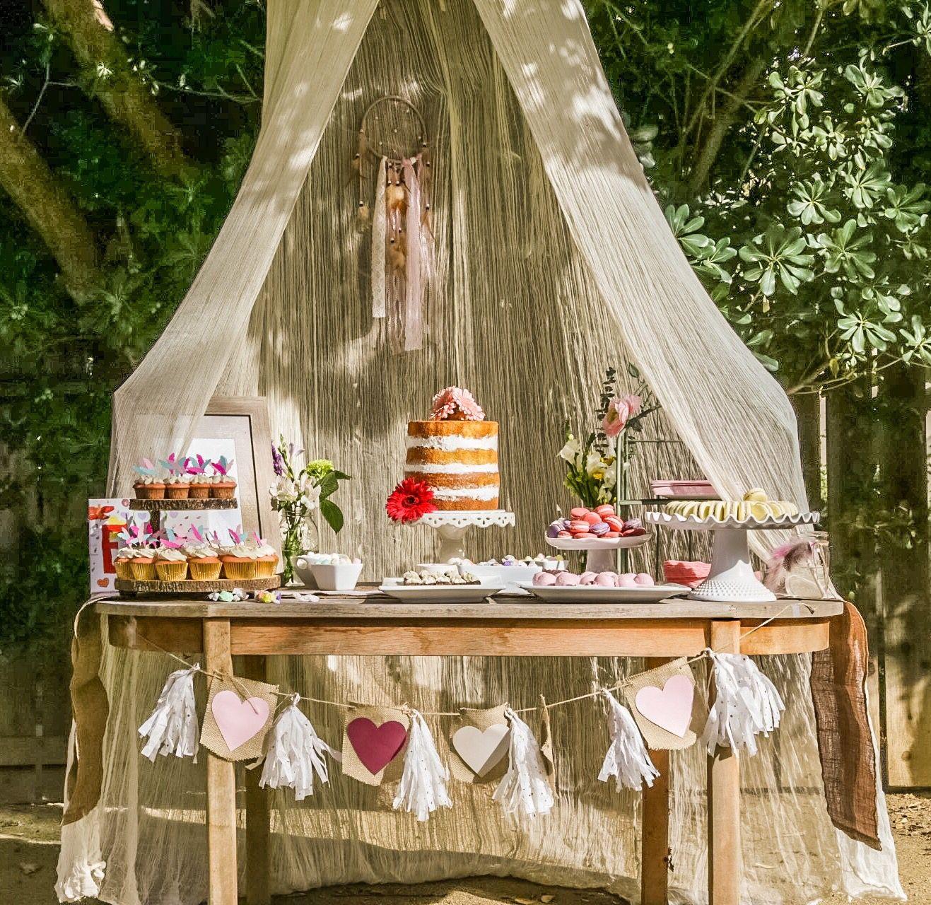 Dessert table #boho #babyshower #sweets