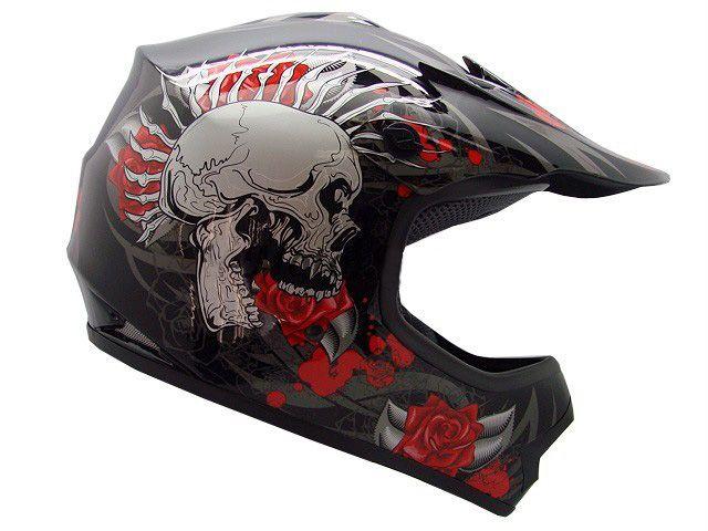 Youth Black Rose Skull Dirt Bike Motorcycle Helmet 35 00