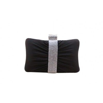 Ladies Hard Case Single Rhinestone Ring Minaudiere Handbag Evening Party Clutch for Gift-Black