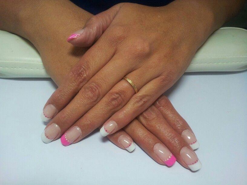Pink and White résine,  sur ongles naturels!!