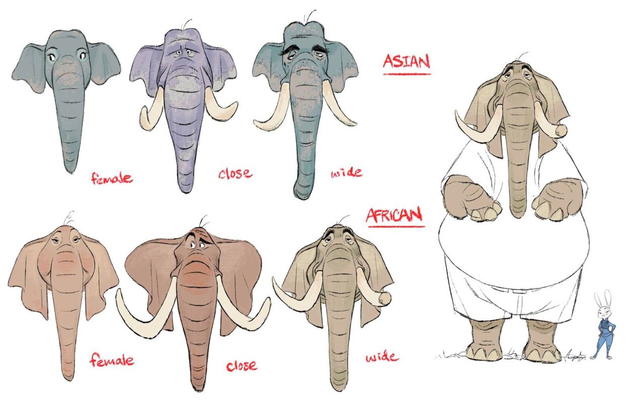 Animation Character Design Theory : Shiyoon kim different ideas on elephants for zootopia