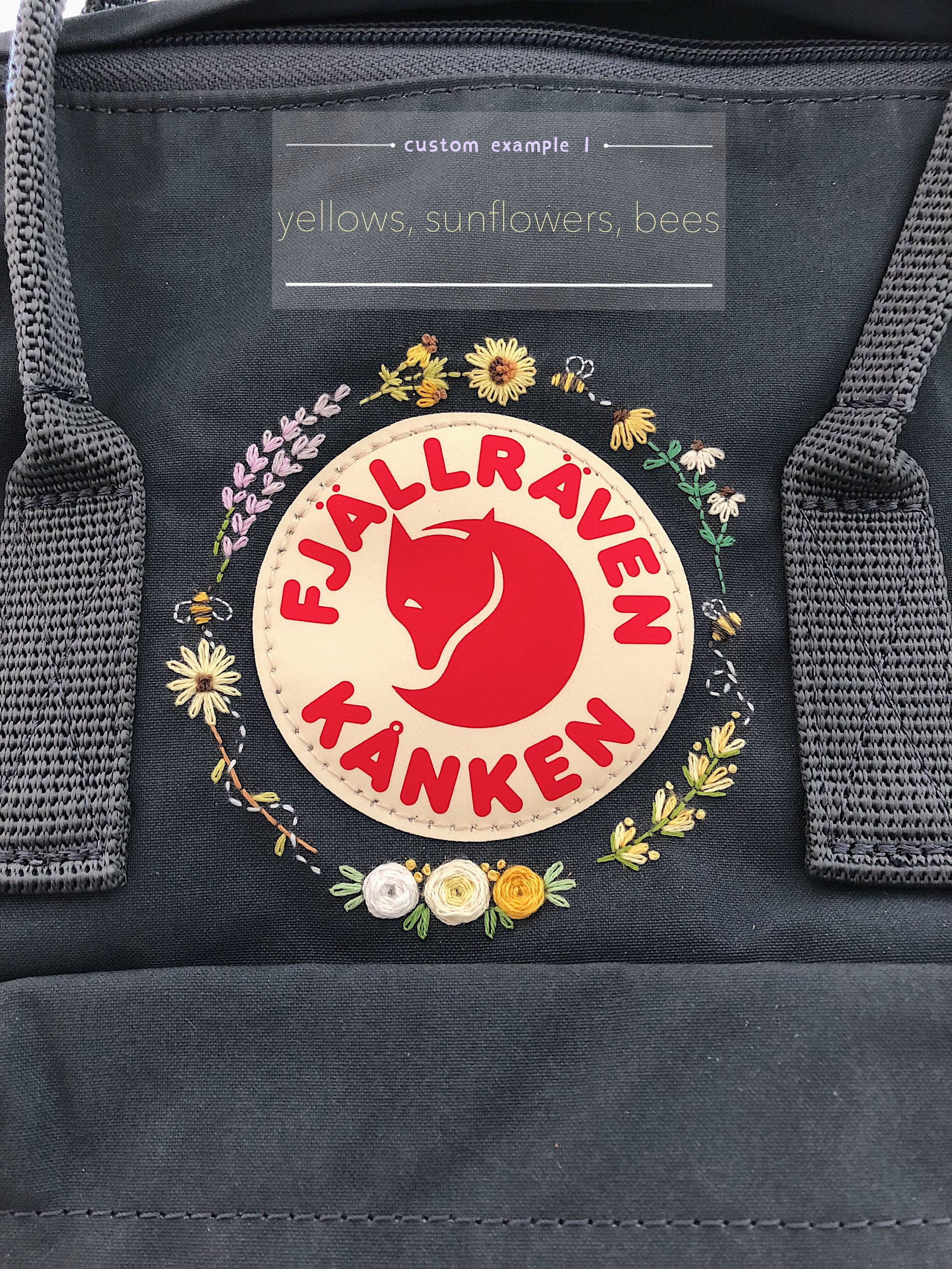Fjallraven Kanken Embroidered Backpack, Customizable Kanken, backpack embroidery, floral embroidered backpack, Embroidered Kanken