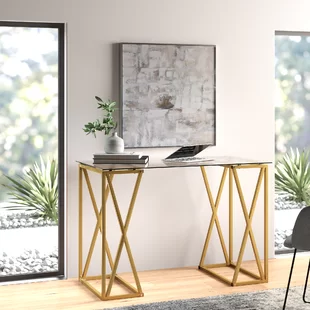 Modern Contemporary Skinny Desk Allmodern In 2020 Office Furniture Modern Modern Desk Glass Desk