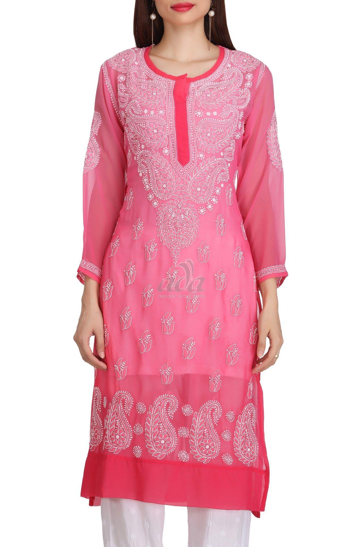 5a9d875e6b Ada Hand Embroidered Pink Faux Georgette Lucknow Chikankari Kurti - A222528  Price Rs.1,690.00 #Ada_Chikan #chikan fabric online #chicken kurta designs # buy ...