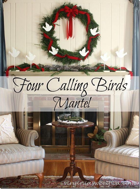 Four Calling Birds Themed Christmas Mantel