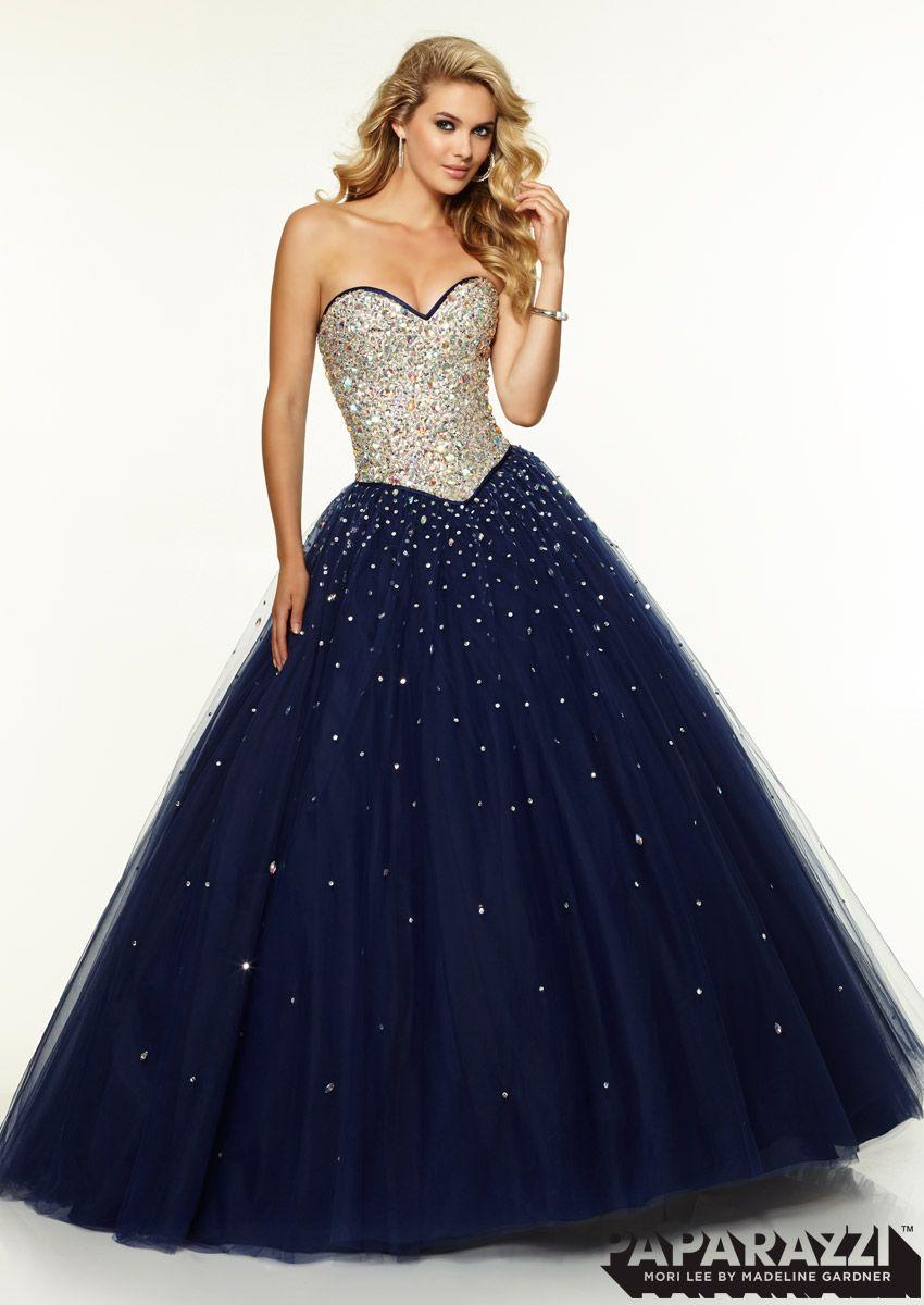 Jeweled Beaded Bodice with Satin Trim on Tulle Ballgown   vestidos ...
