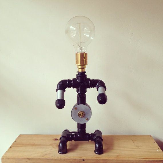 Pipe Lamp Industrial Lamp Urban Pipe Lamp By: Steel Pipe Light Industrial Robot Man Table Lamp Black E27