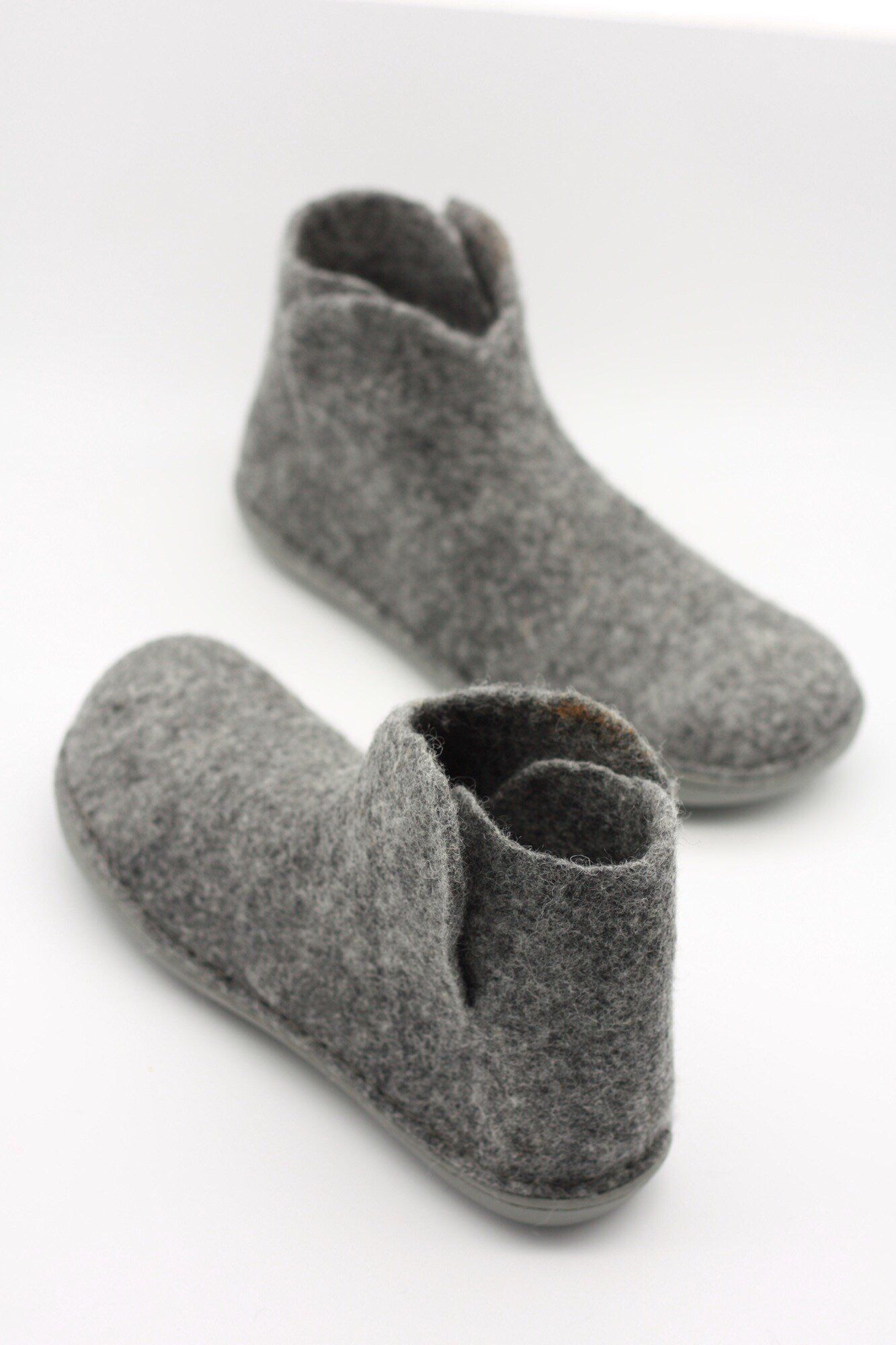 6d97920c584bd LUCIELALUNE grey ankle boots for men women handmade felted merino ...