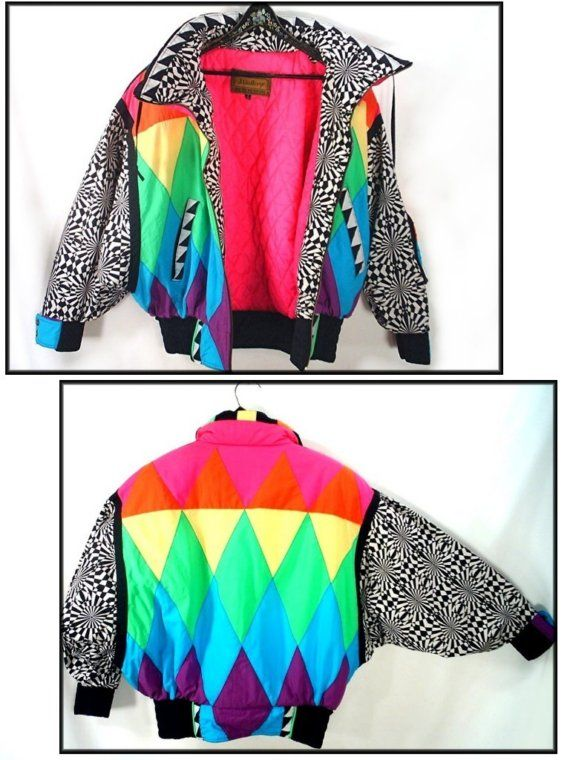 e83729228b3 ultimate 80 s NEON puffy ski jacket vintage avant garde size S ...