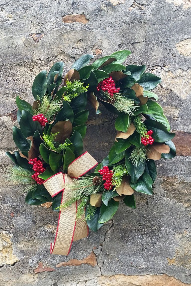 Farmhouse Christmas Wreath Made With Magnolia And Pine It S Large And Fu With Images Christmas Wreaths Artificial Christmas Wreaths Christmas Decorations Rustic