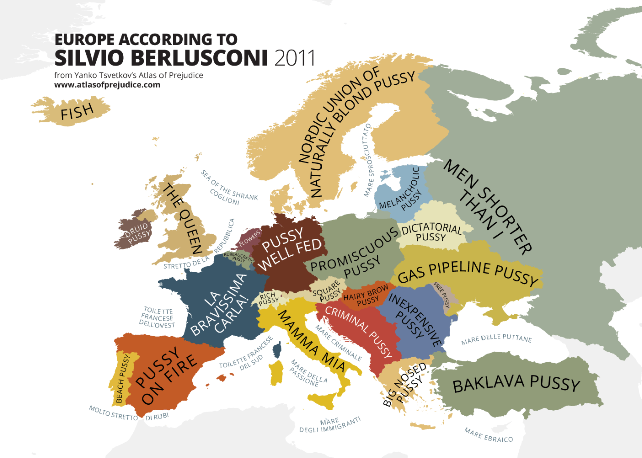 europe according to silvio berlusconi a map from yanko tsvetkovs atlas of prejudice the complete stereotype collection available in paperback from