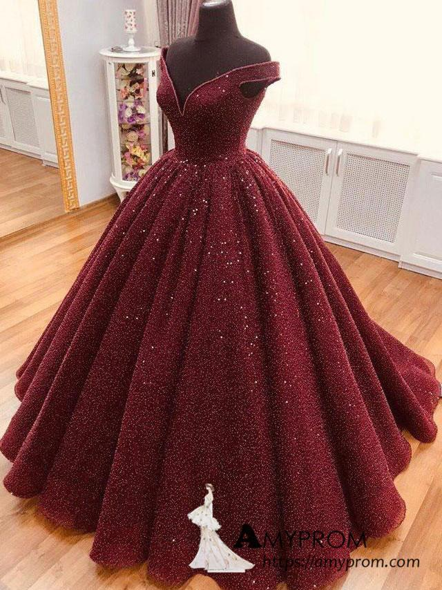 Red Off Shoulder Quinceanera Dress Sequins Prom Ball Gown Formal Evening Dress