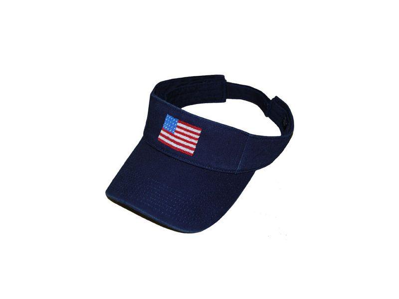 4ec62904515 American Flag Needlepoint Classic Visor (Navy)