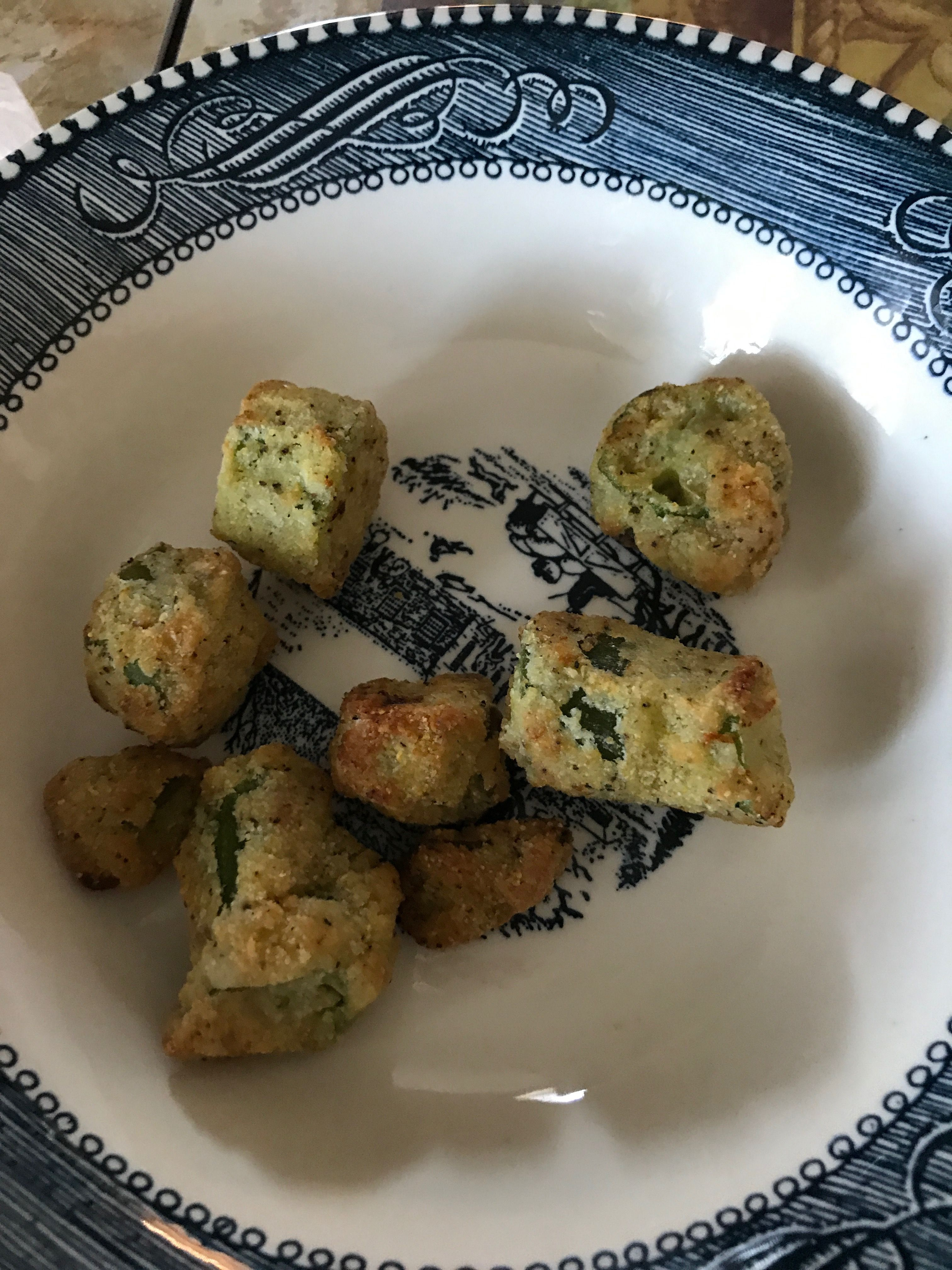 Fried okra in the Air Fryer. Sprayed them with olive oil