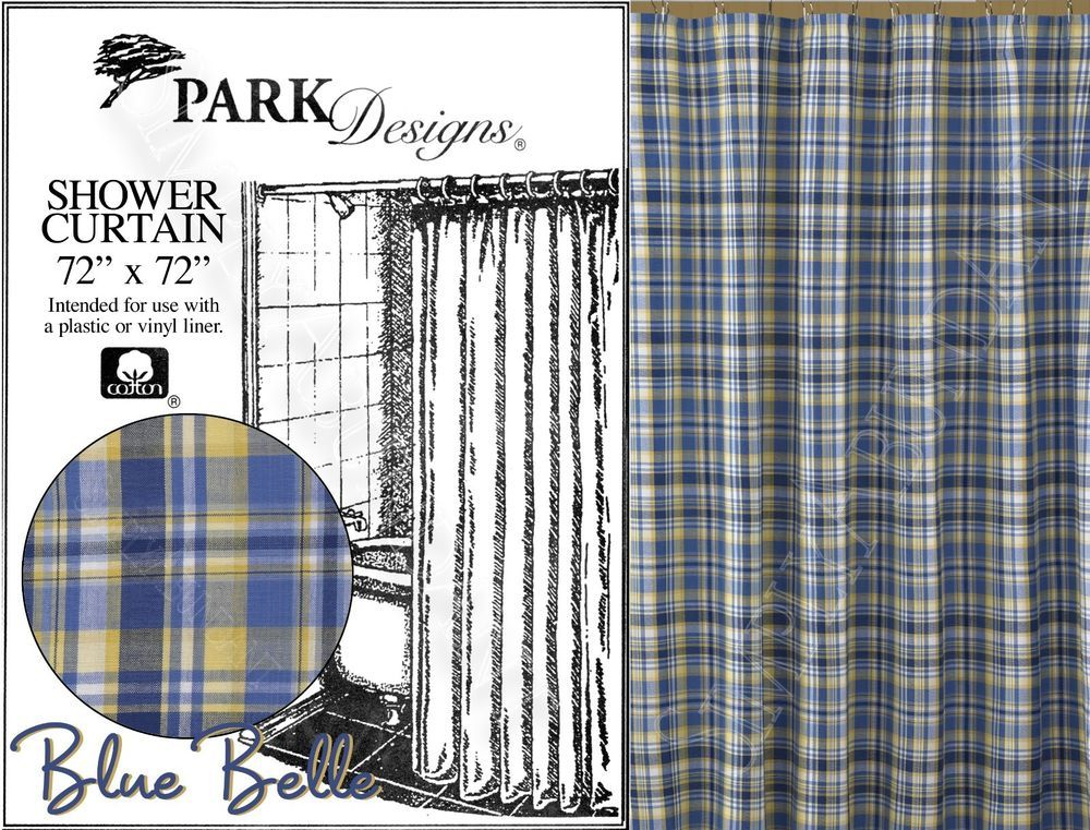 Blue Belle Shower Curtain By Park Designs Sunny Yellow Plaid 72x72 One