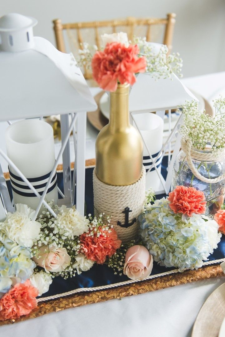 Diy Nautical Wedding Centerpiece Beginning Of My Forever
