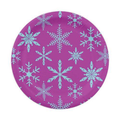 Frozen Snowflakes Holiday Paper Plates | Frozen snowflake