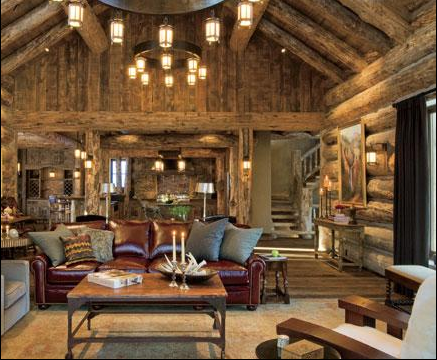 amazing great room in log home in bozeman montana - Cabin Living Room Decor