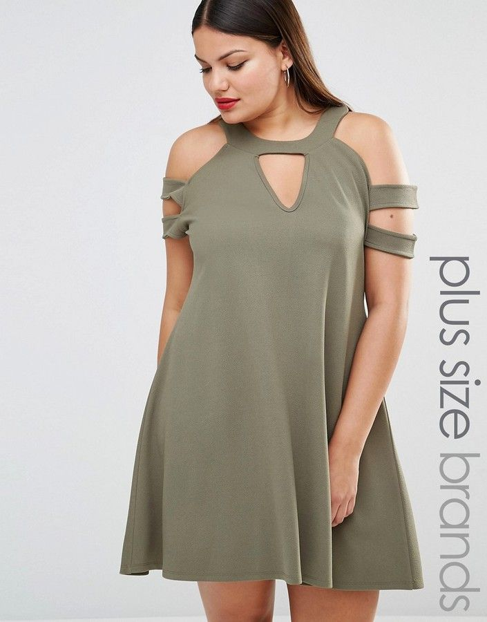 d6e1292f838d Plus Size Cold Shoulder Swing Dress